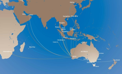 Perth Airport-  Route MapNew routes were Doha, Qatar, Increased flights by Emirates and Singapore, MH to Kota Kinabalu, Air New Zealand 777
